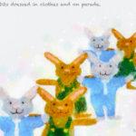 Code.No 98 蟹座8度 服を着てパレードするウサギたち