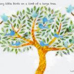 Code.no 148  獅子座28度  大きな木の枝にとまるたくさんの小鳥