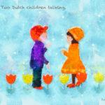 Code no.75 双子座15度 会話をしている2人のオランダの子供