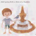 Code no.202  天秤座22度 噴水で鳥に水をやる子供