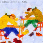 Code no.59 牡牛座29度 テーブルで働いている2人の靴職人