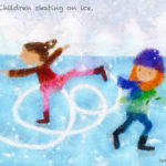 Code no84 双子座24度 氷の上でスケートをする子供たち
