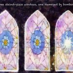 Code no.272 山羊座2度 3つのステンドグラスの窓、一つは爆撃で損傷している
