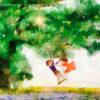 Code.no131  獅子座11度  大きな樫の木の下にあるブランコに乗る子供たち